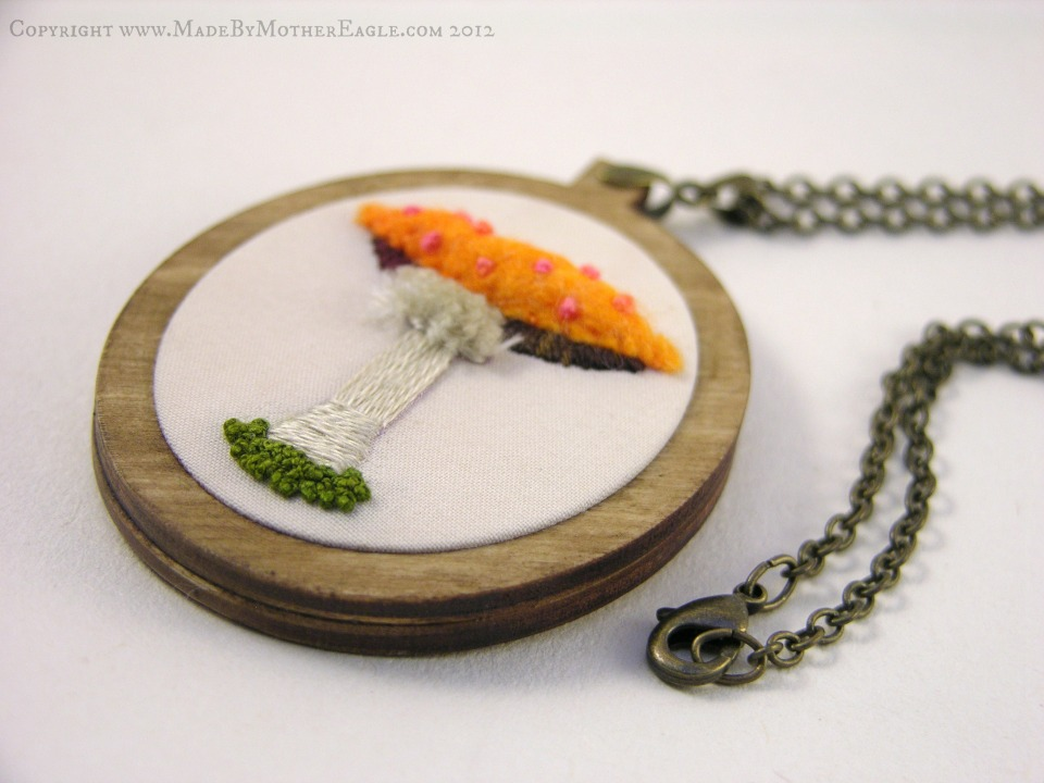 embroidered mushroom necklace