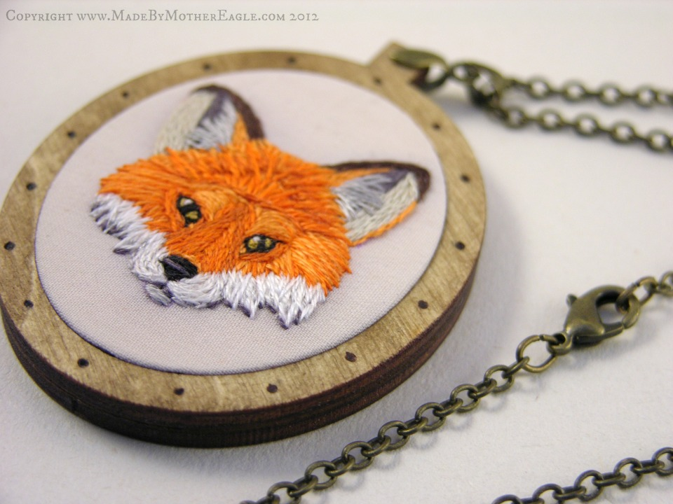 embroidered fox pendant