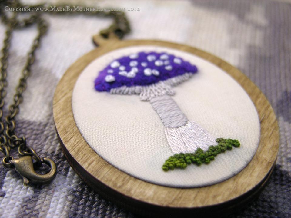 stumpwork miniature mushroom