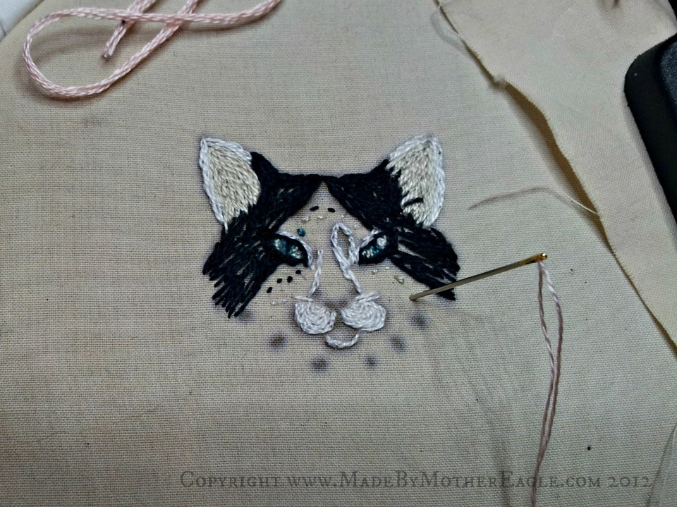 cat embroidery work in progress