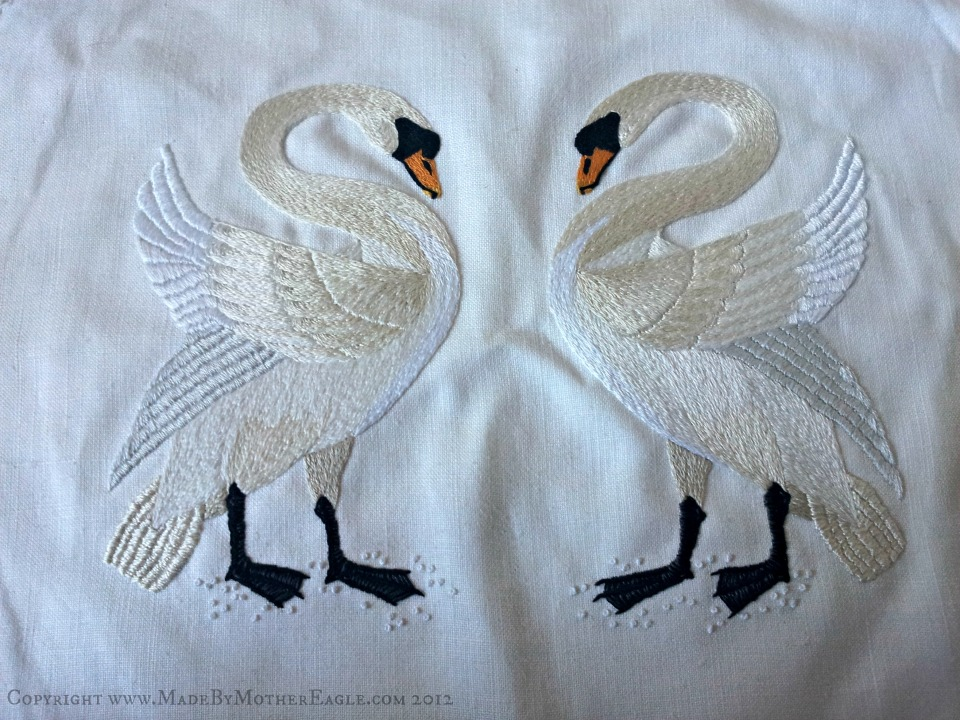 swans embroidery