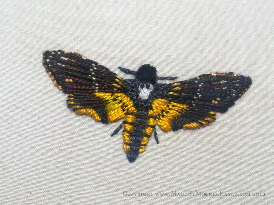 death's head moth embroidery