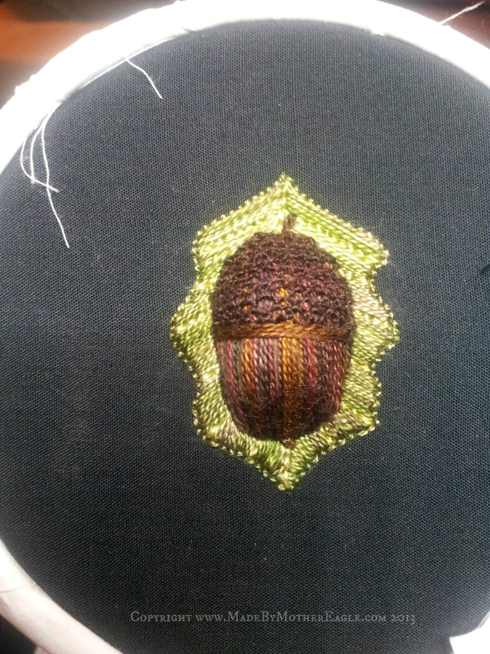 stumpwork hand embroidered acorn and oak leaf in silk