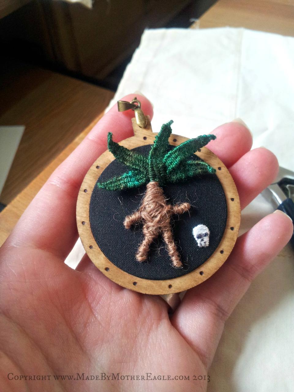 stumpwork mandrake pendant