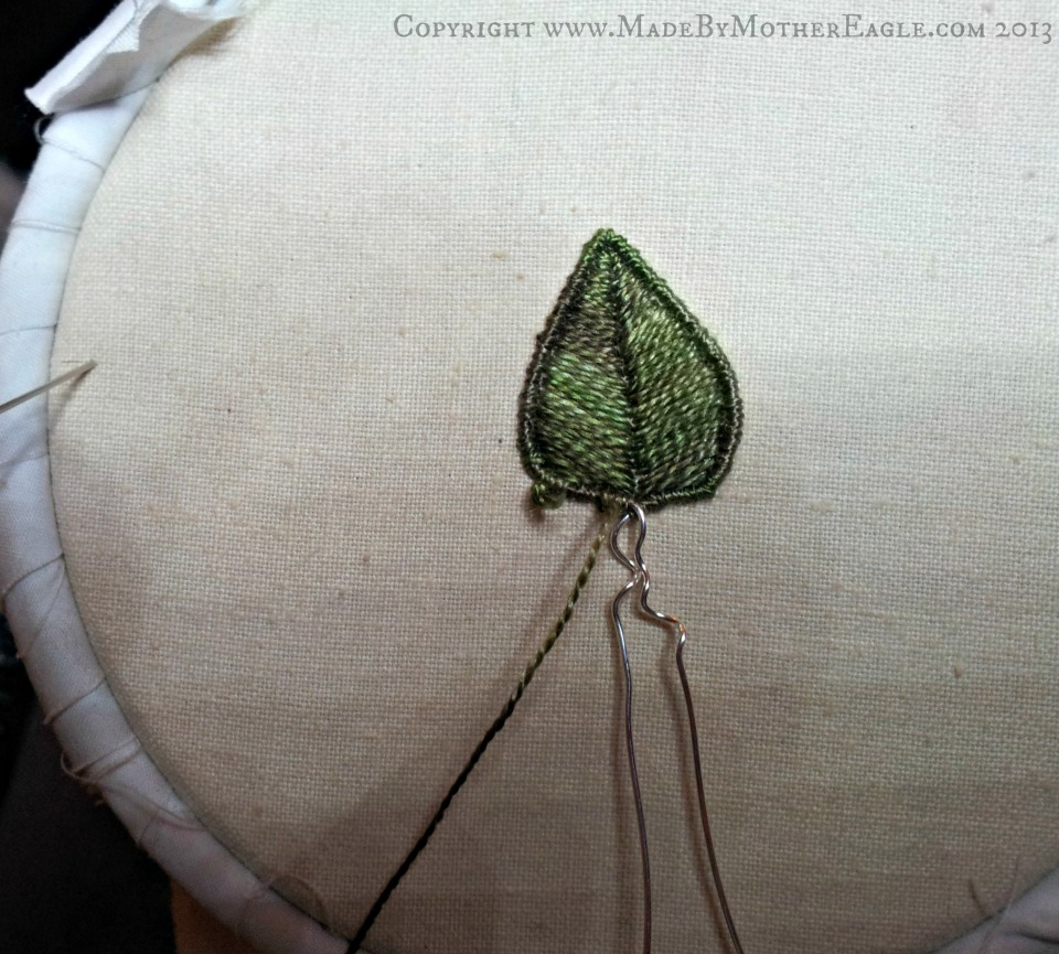 silk embroidered leaf stumpwork