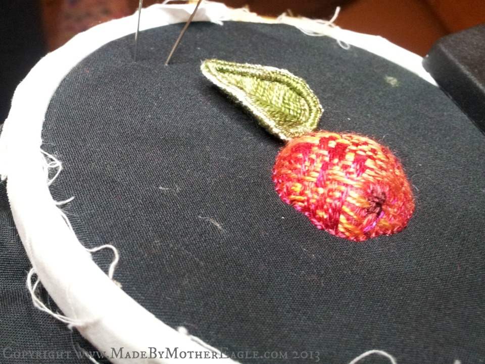 stumpwork Crab apple hand embroidery