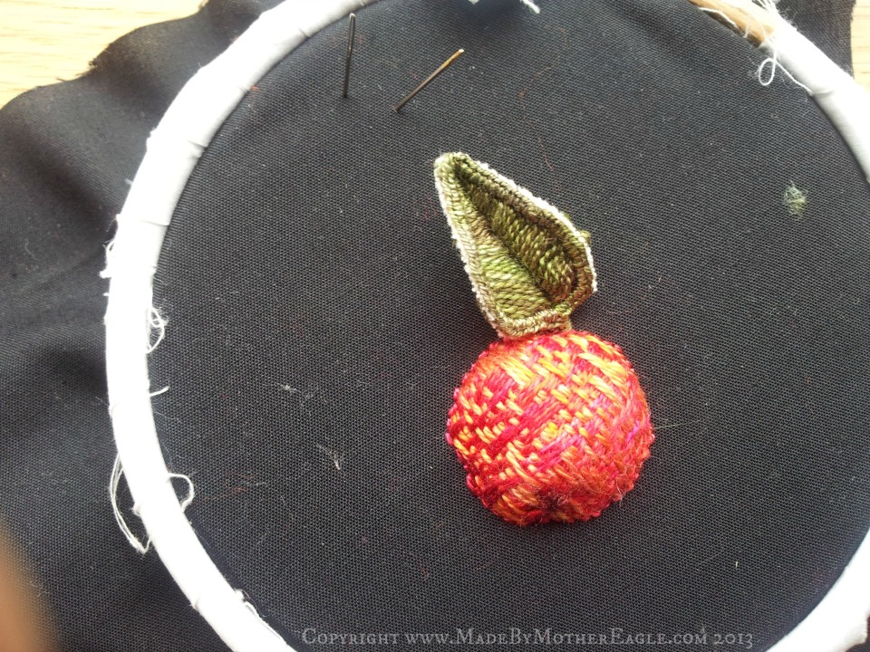 hand embroidered stumpwork apple