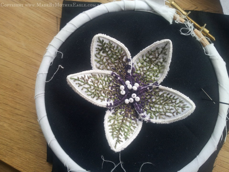 hand embroidered stumpwork henbane flower