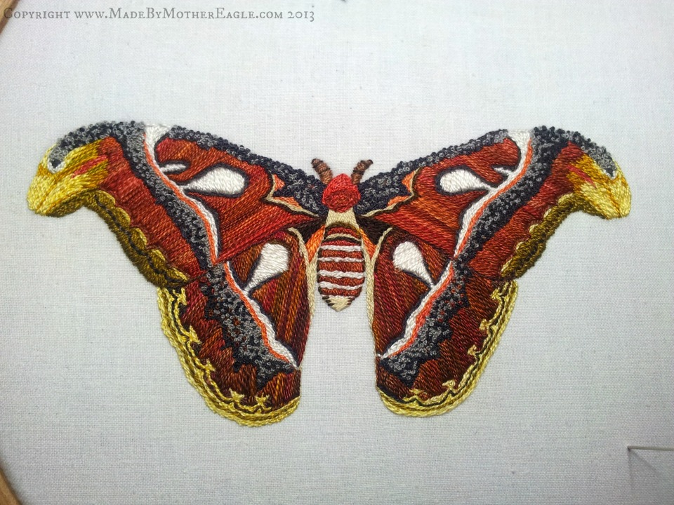 Hand embroidered atlas moth is silk