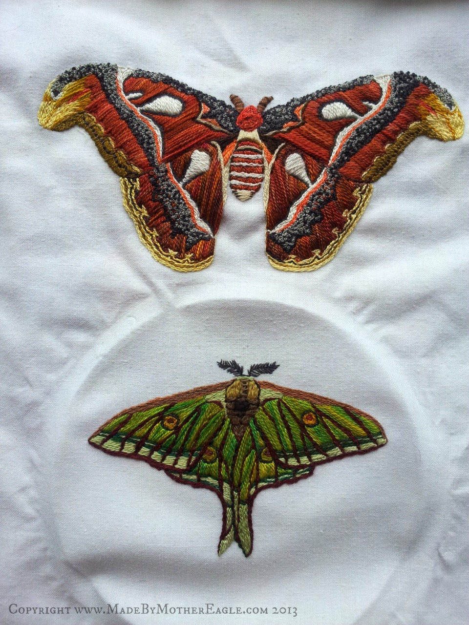 Hand embroidered Moths