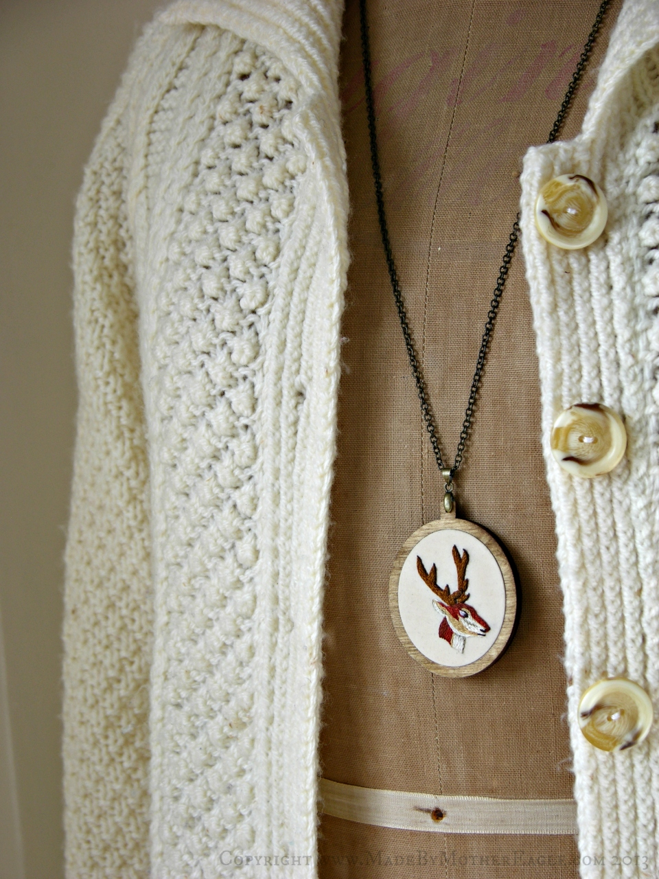 embroidered stag necklace