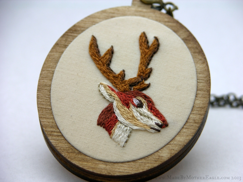 embroidered stag