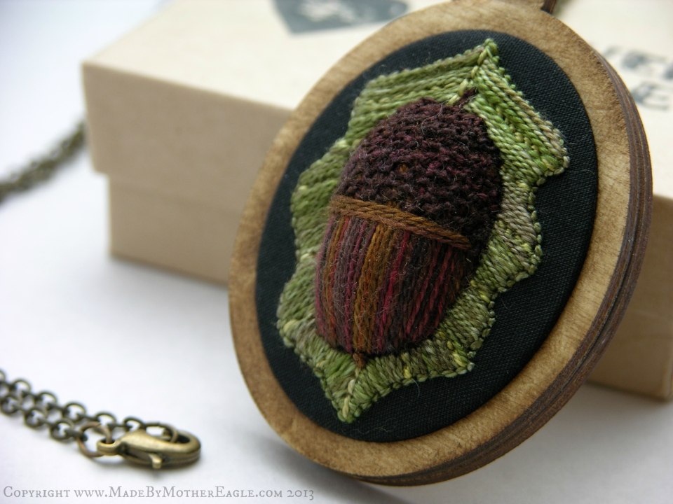 Embroidered acorn pendant