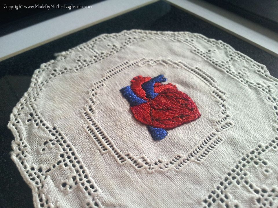 framed heart embroidery