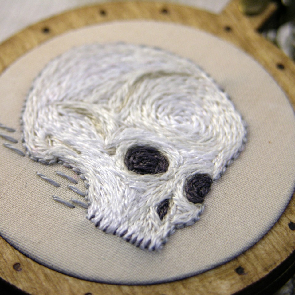Embroidered Skull Pendant