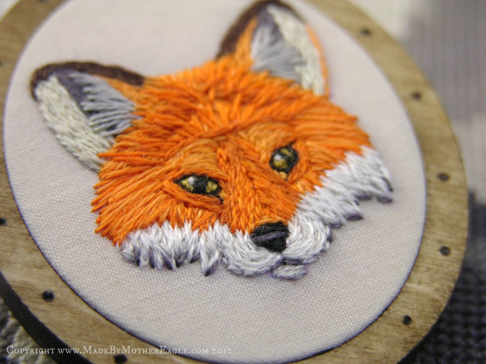 hand embroidered fox