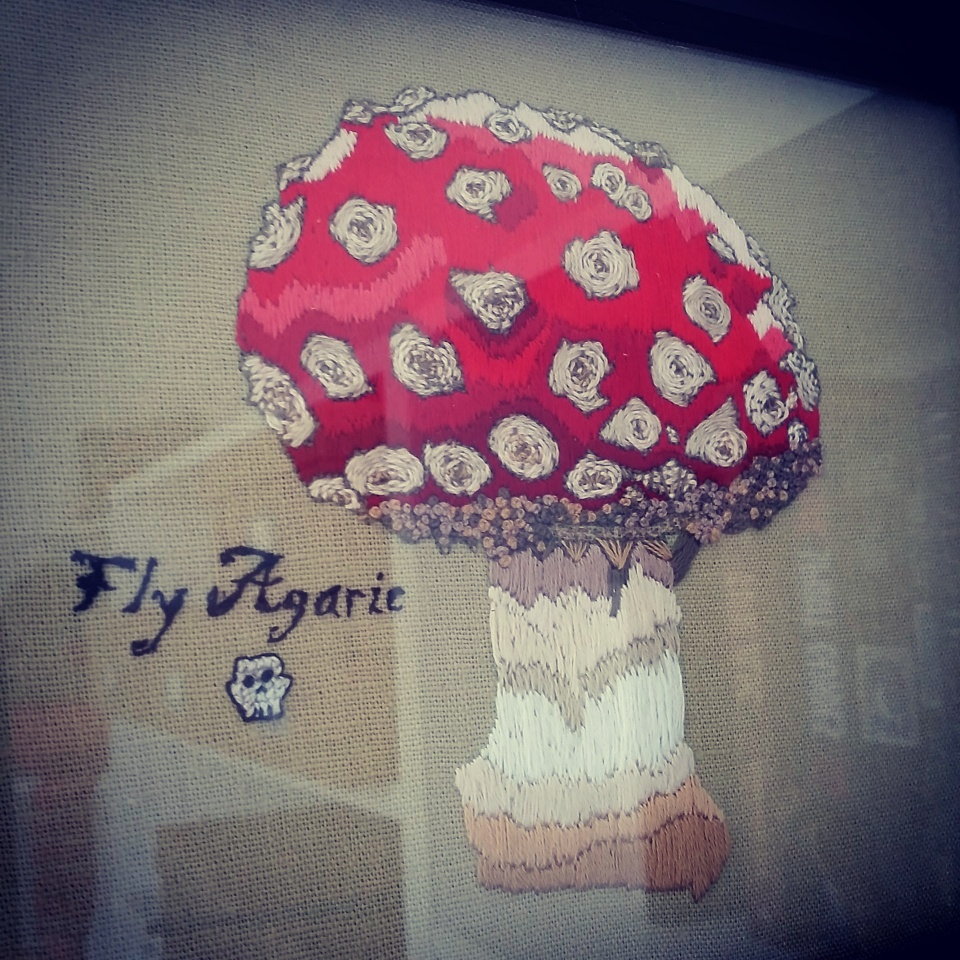 framed fly agaric embroidery