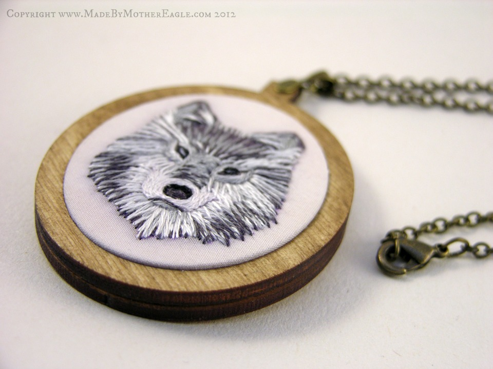 Midwinter wolf embroidery