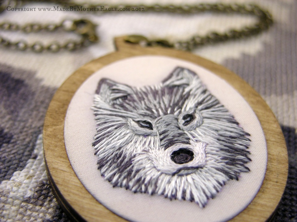 hand embroidered wolf