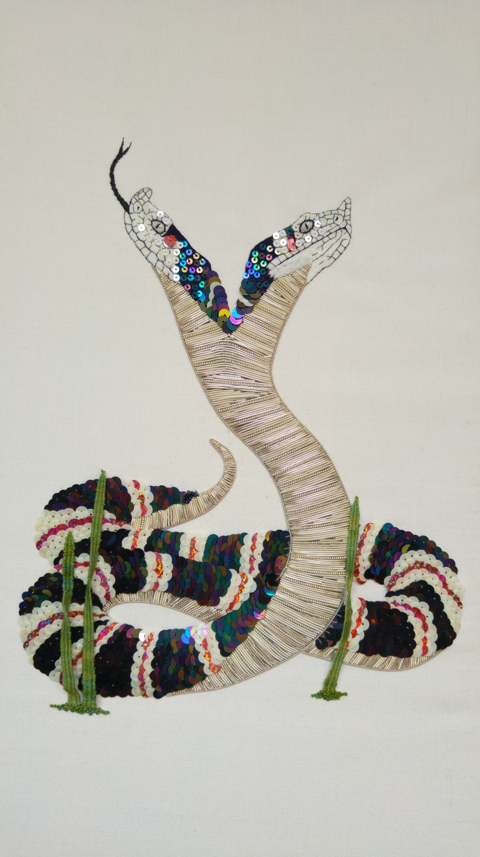 metal thread work embroidery snake